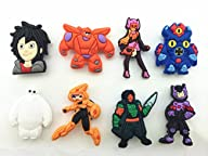 8pcs Big Hero 6 (Hiro Baymax Fred) Shoe Charms for Croc Fits Shoes & Wristband Bracelet