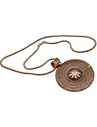Sansar India Golden Oxidized Round Pendant Necklace For Girls And Women