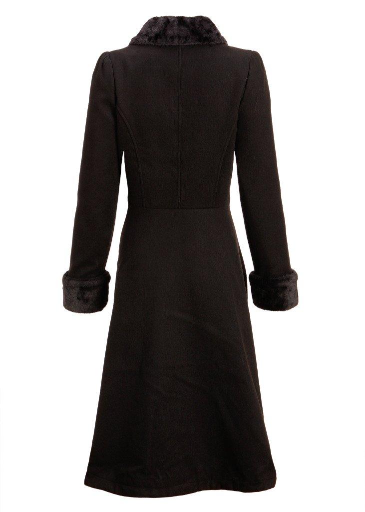 Women's Black Faux Fur Collar Vintage Dress Coat Winter Jacket 1