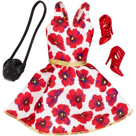 Barbie Seasonal Fashion Pack- Red & White Dress (Red Barbie compare prices)