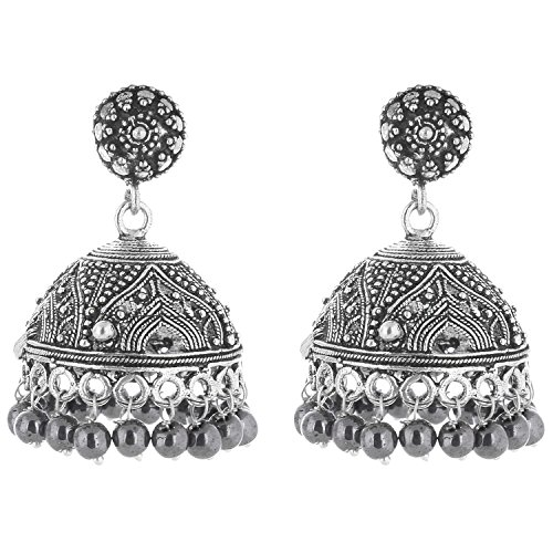 Ganapathy-Gems-Oxidized-Silver-Jhumki-For-Women-Mettalic