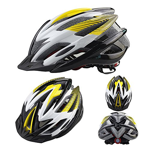 Ezyoutdoor Outdoor Adult Safety Road/Mountain Bike Helmet Ultralight Ventilation 21-Hole Design With Cap Peak Large Size (Black/Yellow) (Cycling Jersey Black Venom compare prices)