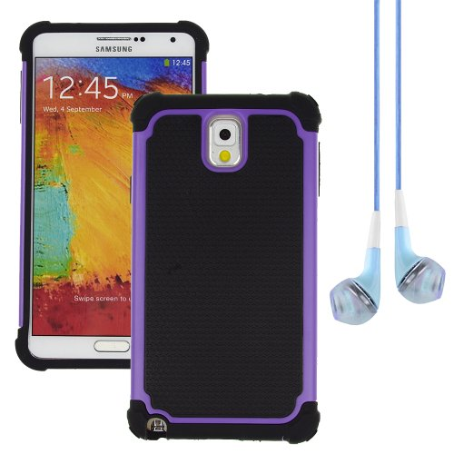 Hybrid Dual Layer Armor Defender Protective Case Cover For Samsung Galaxy Note 3 (At&T Verizon Sprint T-Mobile) + Vangoddy Blue Headphone (Purple)