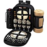 Search : Picnic Backpack Cooler w/ Blanket For Two or Four People (Black)