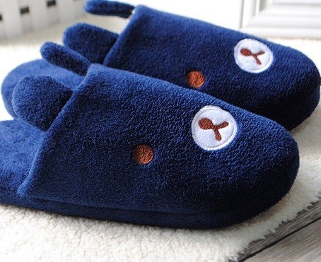 DKTN DK478 Winter Mens Cotton Slippers/Cute Rabbit Plush Velvet Cartoon Antiskid Warm Shoes (Male/XXL, Navy blue)