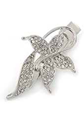 Clear Crystal Butterfly Hair Beak Clip/ Concord Clip/ Clamp Clip In Silver Tone - 55mm L