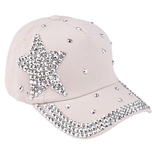 Culater® Boy ragazze Berretto da baseball strass a forma di stella del cappello di Snapback (Beige)