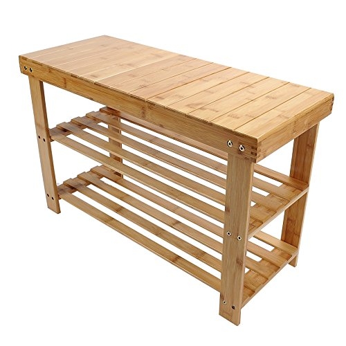 100% Pure Bamboo Bench Shoe Rack 2-Tier Shelf Spa Storage Organizer Natural Cherry 2 Door Cabinet