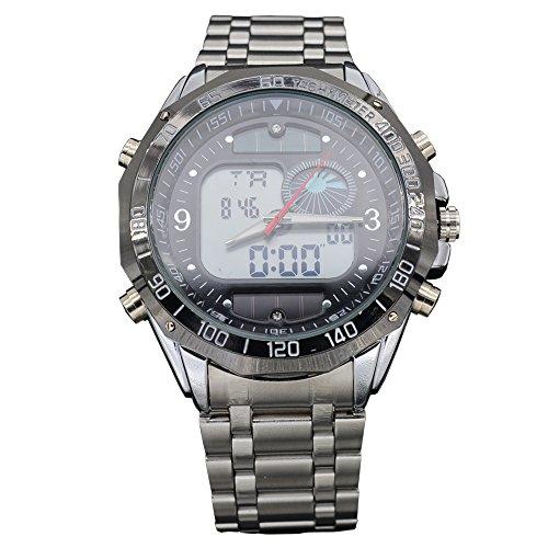 Steel Solar Powered Men Sports Digital Analog Watches Waterproof Dual Time Military Wristwatch