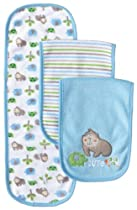 Gerber Baby-Boys Newborn 3 Pack Terry Burp Cloths - Gorilla, Blue, One Size
