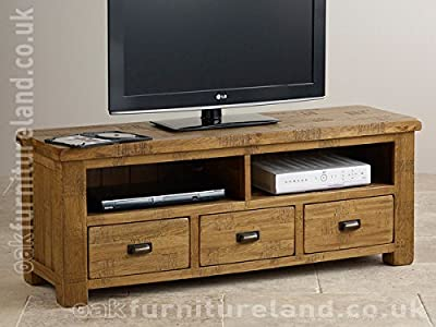 The Best  Ripley Rough Sawn Solid Oak Wide TV Cabinet