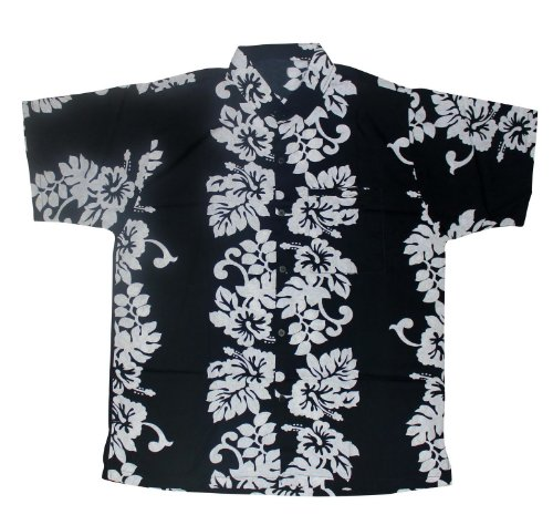 La Leela Hibiscus Floral Printed Likre Black Beach Hawaiian Shirt For Men L