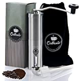 Manual Coffee Grinder With Stainless Steel Spoon, Cleaning Brush & Traveling Pouch Stainless Steel Coffee Mill...