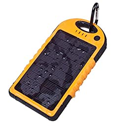 Faddist Solar Panel Charger 12000mah Rain-resistant Dirt/shockproof Dual USB Port Portable Charger Fits Most Usb-charged Devices (Orange)
