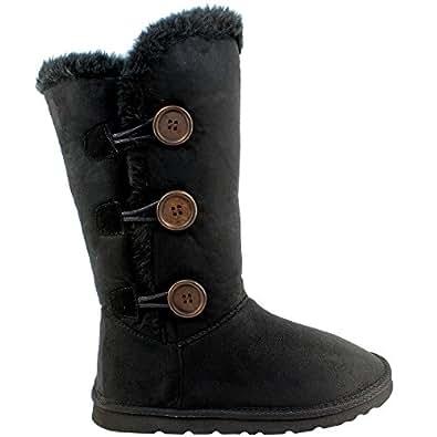 Womens Triplet Button Tall Classic Fur Winter Rain Snow Boots - Black - 5 - 36 - AEA0102