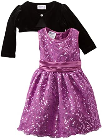 Blueberi Boulevard Baby Girls Infant Special Occasion Sequin Dress, Purple, 18 Months
