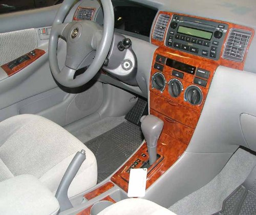 TOYOTA COROLLA INTERIOR BURL WOOD DASH TRIM KIT SET 2003 2004 2005 2006 2007 2008 (Wood Dash Kit For Corolla compare prices)