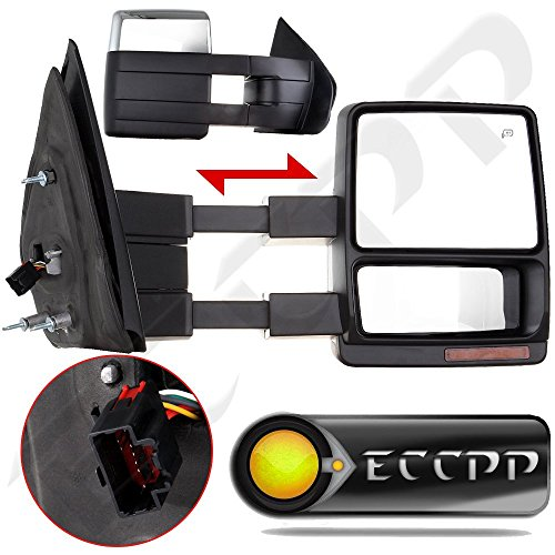 ECCPP Towing Mirrors Pair Set For 2007-2014 Ford F150 Truck Pickup Power Heated Turn Signal LED Puddle Lamp Chrome Cap Tow Side View Mirror Kit (2011 F150 Tow Mirrors compare prices)