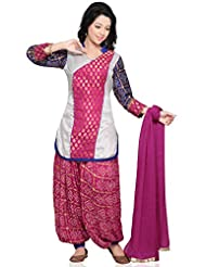 Utsav Fashion Women's Pink Chanderi Brocade And Dupion Silk Jasmine Pant With Kameez-Small