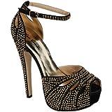 Eye Candie Gitygal-502 Women's Fashion Rhinestone High Heel Sandal Shoes