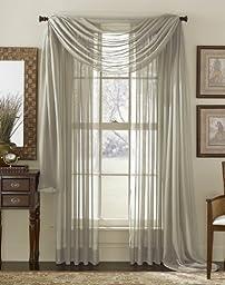 LuxuryDiscounts Beautiful Elegant Solid Grey / Gray Sheer Scarf Valance Topper 37\