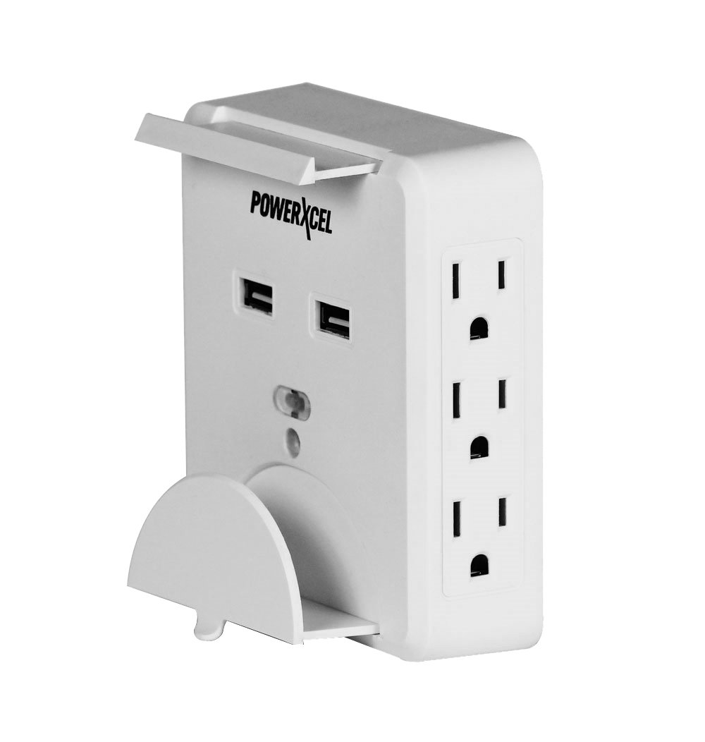 Powerxcel 6 Outlet Wall Mounted Power Center With Dual Usb