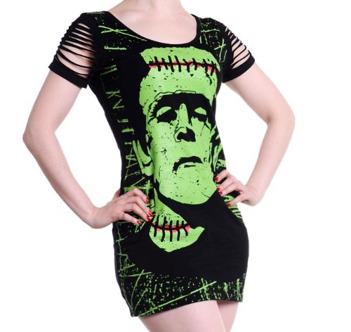 BANNED Goth MINI DRESS Top FRANKENSTEIN Monster/Zombie/Horror B-Movie L 12