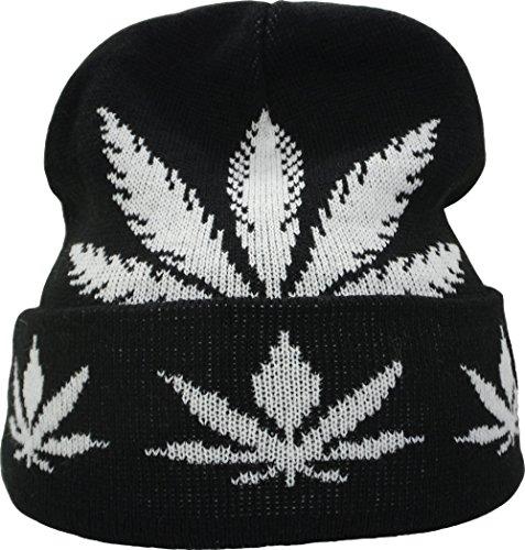 YCMI-Winter-Warm-Mickey-Hands-Letter-Kush-Weed-Marijuana-Beanies-Hat-Skully-07-black-and-white