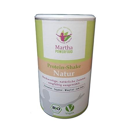 Martha Bio Protein Shake natur, vegan, low carb, glutenfrei, ohne Whey, ohne Soja, ohne chemische Zusätze, ohne Industriezucker, mit Hanfprotein, 450g