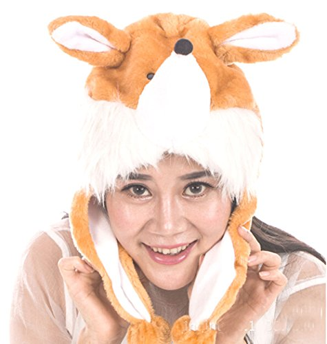 [Ysps Adult/teen Plush Animal Character Ear Flap Hat (One Size) (Fox)] (Fox Hat Costume)