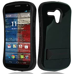 CY Infuse Hybrid Cover Case With Kick Stand For Motorola Moto G (CDMA) (Include a Free CYstore Stylus Pen) - Black