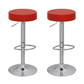 Struttura in Cromato NOVA Sgabello da Bar per Cucina Sedia da Pranzo Set da 2 Sgabelli Regolabile e Girevole a 360 Colori a Scelta Sedia da Bar con Schienale e Braccioli Mobili da Bar