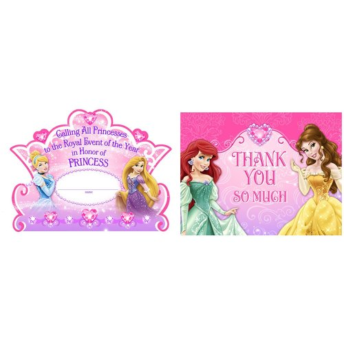 Disney Very Important Princess Dream Party Invitations and Thank You Postcards - 16 Guests - 1