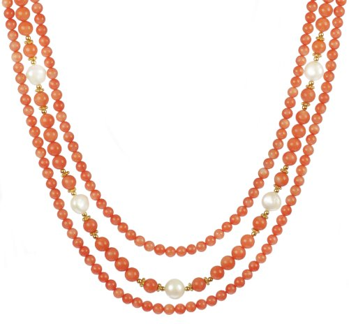 3 Row Dyed Coral, White Freshwater Pearl and Gold Filled Bead Necklace, 16-18.5