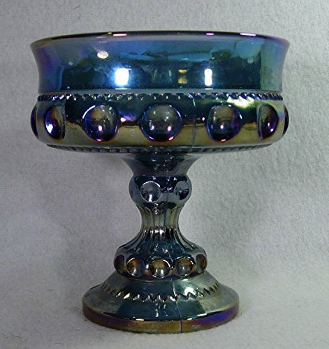 Indiana Glass King's Crown Pattern Purple Glass Compote Antique Carnival Glass