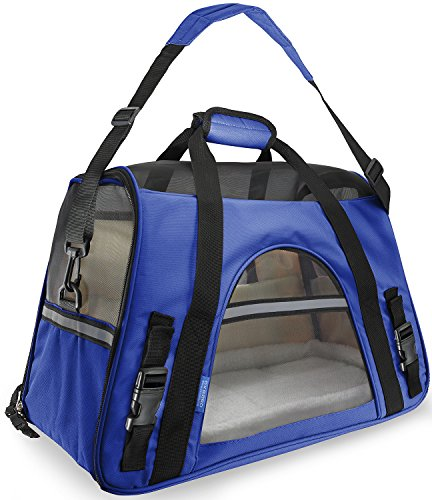 OxGord Airline Approved Pet Carriers w/ Fleece Bed For Dog & Cat – Large, Soft Sided Kennel – 2016 Newly Designed Model, Sapphire Blue