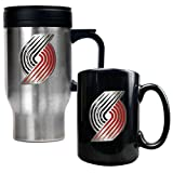 NBA Portland Trailblazers Stainless Steel Travel Mug & Black Ceramic Mug Set - Primary Logo at Amazon.com