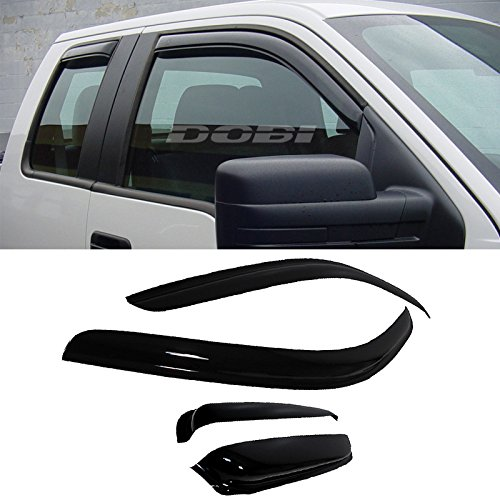 VioletLisa 4pcs Front Rear Smoke Sun/Rain Guard Vent Shade Window Visors For 97-03 Ford F-150 97-99 Ford F-250 Light Duty Super/Extended Cab With 2 Half Size Rear Doors (1998 Ford F 150 Accessories compare prices)