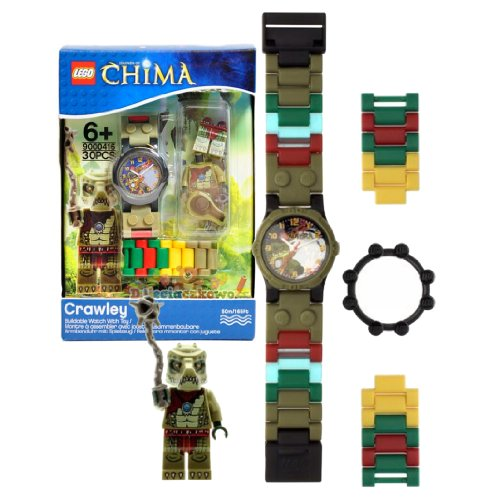 Lego Year 2013 Legends of Chima Series Watch with Minifigure Set #9000416 - CRAWLEY Watch Plus Crawley Minifigure with Whip (Water Resistant: 50m/165ft) - 1