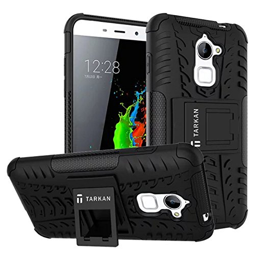 TARKAN Rugged Hard Armor Hybrid Rubber Bumper Flip Stand Rugged Back Case Cover For Coolpad Note 3 Lite [Black]