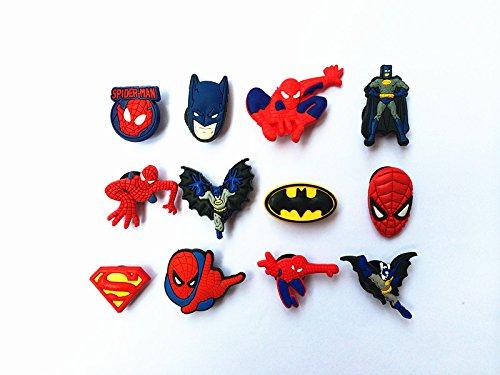 12 Spiderman & Batman Shoe Charms for Croc Shoes & Wristband Bracelet