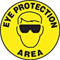 "Accuform Signs MFS231 Slip-Gard Adhesive Vinyl Round Floor Sign, Legend ""EYE PROTECTION AREA"" with Graphic, 17"" Diameter, Black on Yellow"