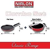 NIRLON Non-Stick Cookware 3 Layer Combo 2 Pcs Set Of Flat Dosa Tawa 30cm & Deep Kadai Big 2.6 Litre With Stainless...