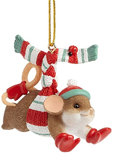 Enesco Charming Tails Gift Thrill of The Chill Ornament, 1.875-Inch