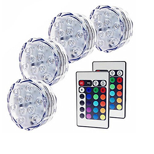Amoker 4X Led Submersible Lights - Battery Powered Led Accent Lights Ir Remotes For Wedding, Centerpiece, Halloween, Party Lights