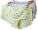 (トンボボ)Tonbobo 無縫製 響きにくい レディース ショーツ パンツ 下着 花柄 棉 コットン(6花柄あり)(2枚セット) (セット2:猫&B熊)
