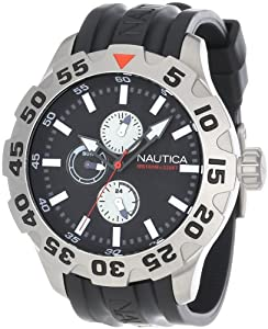 Nautica Men's N15564G BFD 100 Multifunction Stainless Steel Black Dial