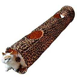 S_ssoy Collapsible Fun Tunnel for Cats with Two Holes (leopard)