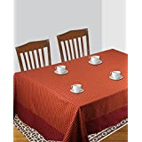 Dhrohar Hand Woven Orange Check Cotton Table Cover For 4 Seater Table