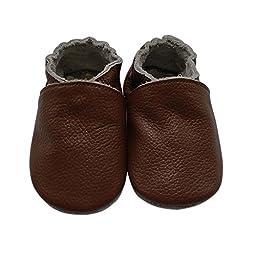 Mejale Baby Boy Shoes Soft Soled Leather Moccasins Anti-skid Infant Toddler Prewalker(brown,6-12 months)